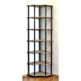 Rohový, kombinovaný regál Dedal so 7 policami, 210x55x55 cm