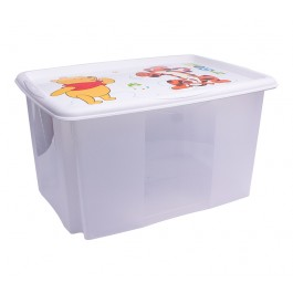 Plastový box Macko Pú, 45l, priehľadný s bielym vekom, 55x39,5x29,5 cm - POSLEDNÉ 4 KS