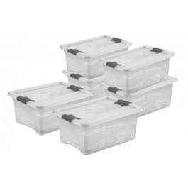 Zvýhodnená sada plastových boxov Crystal 12 l, 6 ks