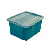 Plastový box Colours, 24 l, modrý s vekom, 41x34x22 cm