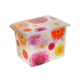 "Plastový box Fashion, ""Pink Flowers"", 39x29x27 cm - POSLEDNÝCH 4 KS"