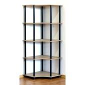 Rohový regál kombinovaný, s 5 policami, Dedal, 5 políc, 144x55x55 cm