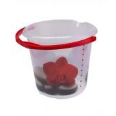 """Plastové vedro Fashion """"Červený lotos"""", 30x28 cm, Objem 10l."""