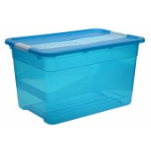 Plastový box Crystal 52 l, svieža modrý, 59,5x39,5x34 cm
