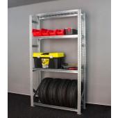Regál na 4 pneumatiky + 3 plné police