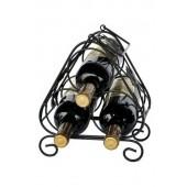 Kovový stojan na 3 fľaše, čierny, 25,5x21,5x16 cm