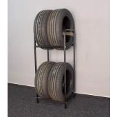Regál na pneumatiky, čierny, 4 ks pneumatík